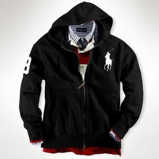 Ralph Lauren Big Pony Full-Zip Fleece Hoodie Black