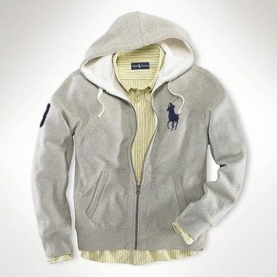 Ralph Lauren Big Pony Full-Zip Fleece Hoodie Grey