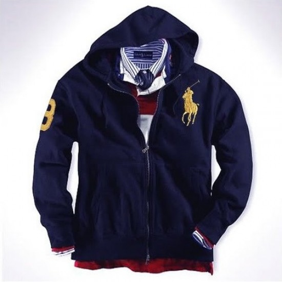Ralph Lauren Big Pony Full-Zip Fleece Hoodie Navy