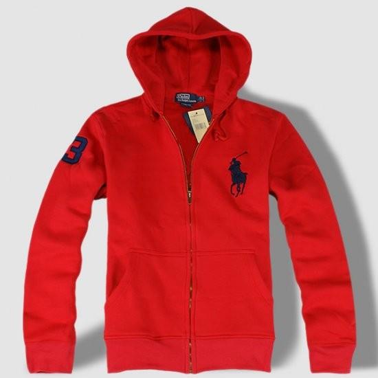 Ralph Lauren Big Pony Full-Zip Fleece Hoodie Red