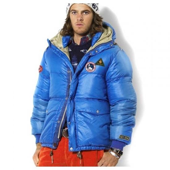 Polo Ralph Lauren Men's 1013 Hooded Down Jacket in Blue