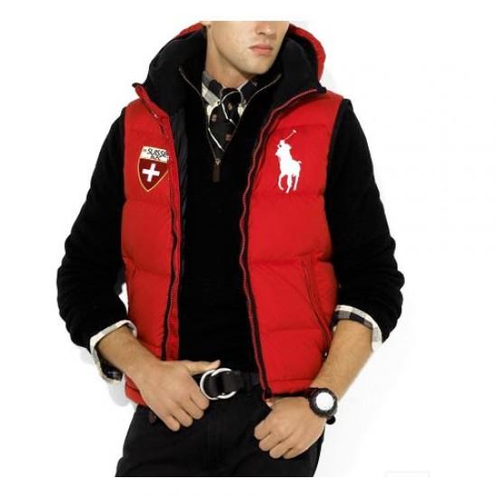 Polo Ralph Lauren Men's 2002 Hooded Down Vest in Red