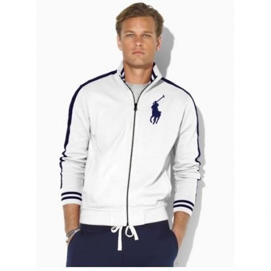 Polo Ralph Lauren Men's Stripes sleeves Big Pony Full-Zip White