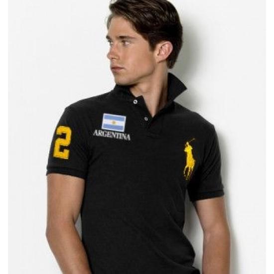 Men's Polo Ralph Lauren Argentina Flag Polo Black 1038