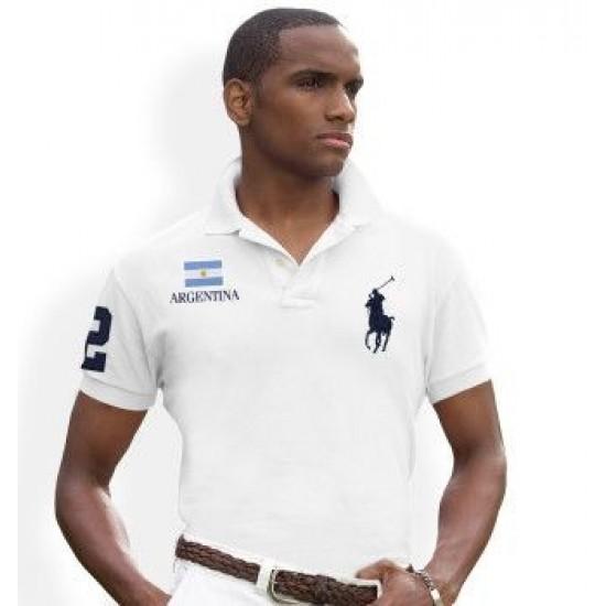 Men's Polo Ralph Lauren Argentina Flag Polo White 1039