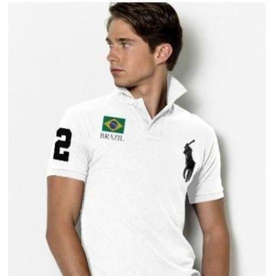 Men's Polo Ralph Lauren Brazil Flag Polo Black 1086