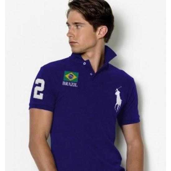 Men's Polo Ralph Lauren Brazil Flag Polo Navy Blue 1077