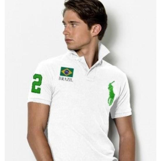 Men's Polo Ralph Lauren Brazil Flag Polo White 1035