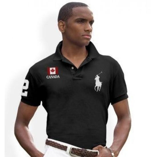 Men's Polo Ralph Lauren Canada Flag Polo Black 1061