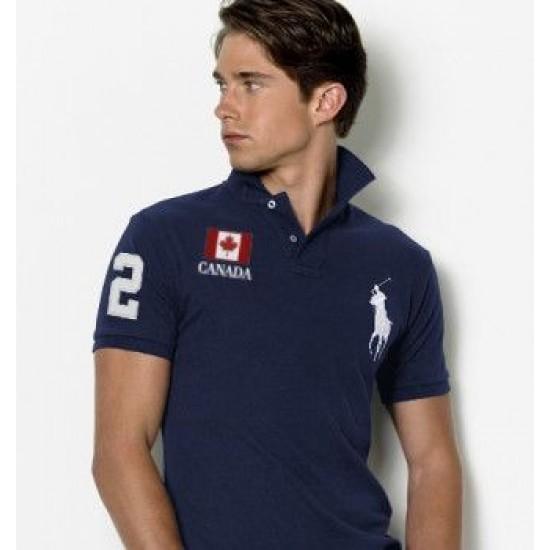 Men's Polo Ralph Lauren Canada Flag Polo Blue 1062