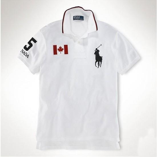 Men's Polo Ralph Lauren Canada Flag Polo White-1001