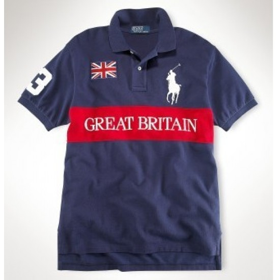 Men's Polo Ralph Lauren Great Britain Flag Polo Blue 1004