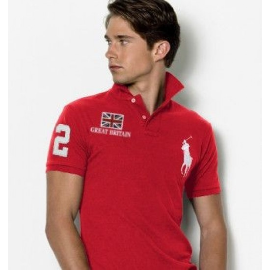 Men's Polo Ralph Lauren Great Britain Flag Polo Red 1050