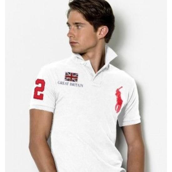 Men's Polo Ralph Lauren Great Britain Flag Polo White 1055