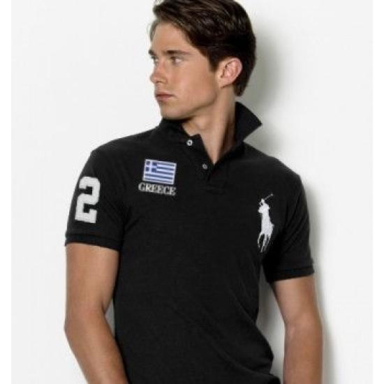 Men's Polo Ralph Lauren Greece Flag Polo Black 1064