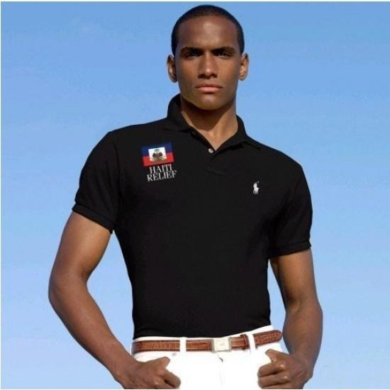 Men's Polo Ralph Lauren Haiti Relief Flag Polo Black 1006