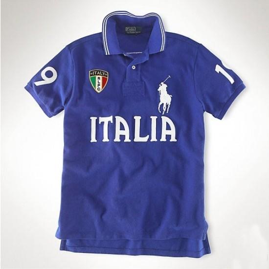 Men's Polo Ralph Lauren Italia Flag Polo Blue 1010