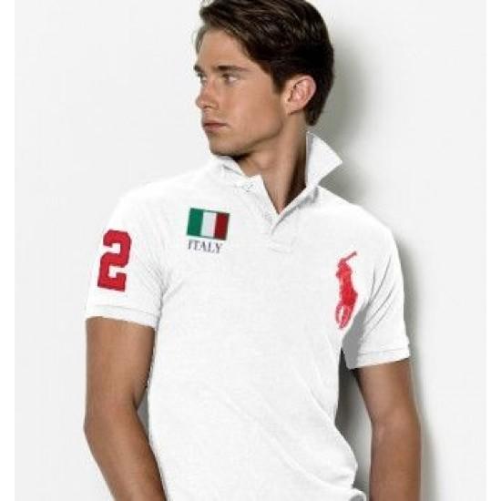 Men's Polo Ralph Lauren Italia Flag Polo White 1060
