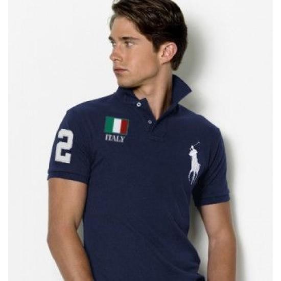 Men's Polo Ralph Lauren Italy Flag Polo Blue 1052