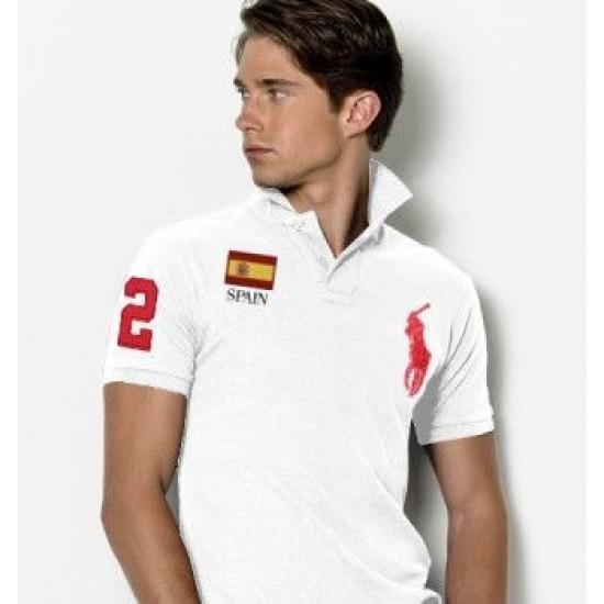 Men's Polo Ralph Lauren Spain Flag Polo White 1029