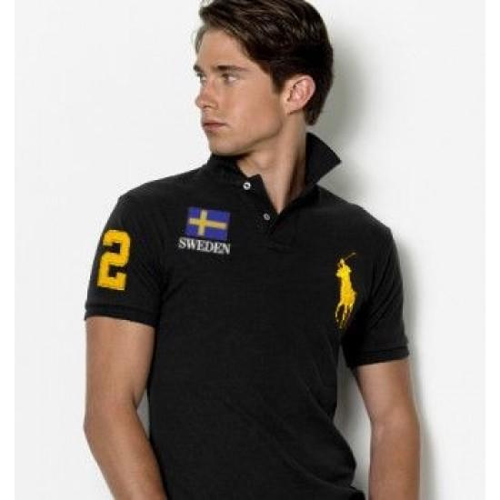Men's Polo Ralph Lauren Sweden Flag Polo Black 1073