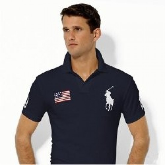 Men's Polo Ralph Lauren USA Flag Polo Blue 1015