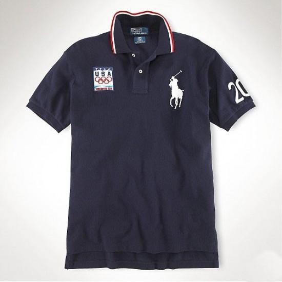 Men's Polo Ralph Lauren USA Flag Polo Blue 1016