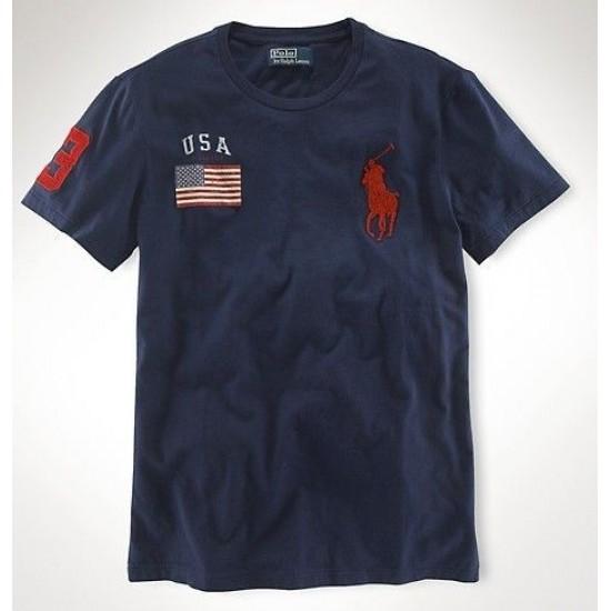 Men's Polo Ralph Lauren USA Flag Polo Blue 1025