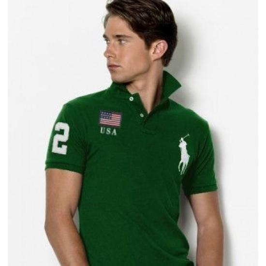 Men's Polo Ralph Lauren USA Flag Polo Green 1030