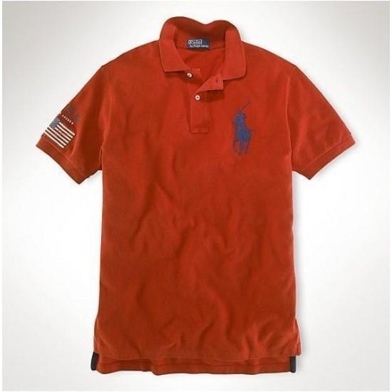 Men's Polo Ralph Lauren USA Flag Polo Orange 1053
