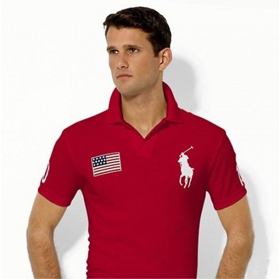 Men's Polo Ralph Lauren USA Flag Polo Red 1017