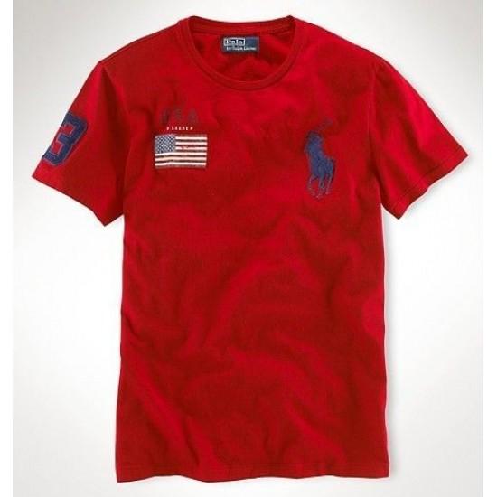 Men's Polo Ralph Lauren USA Flag Polo Red 1021