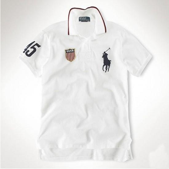 Men's Polo Ralph Lauren USA Flag Polo White 1018