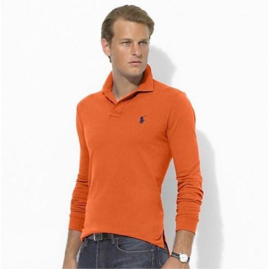 Polo Ralph Lauren Orange Blue Big Pony Long Sleeved For Men