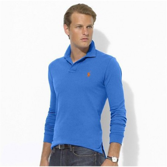 Polo Ralph Lauren Big Pony Long Sleeved Blue Orange For Men