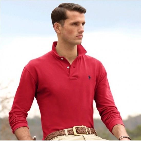 Men's Polo Ralph Lauren Big Pony Long Sleeved Red