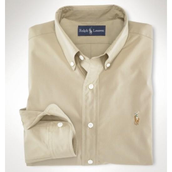 Men's ralph lauren shirts fine classic fit poplin khaki