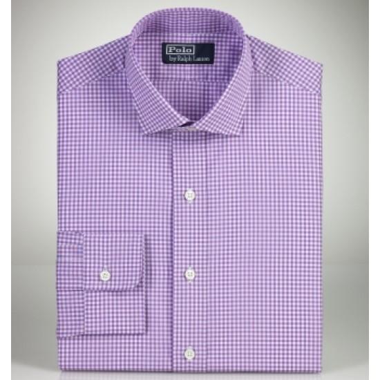 Men's ralph lauren shirts custom fit gingham estate purpl