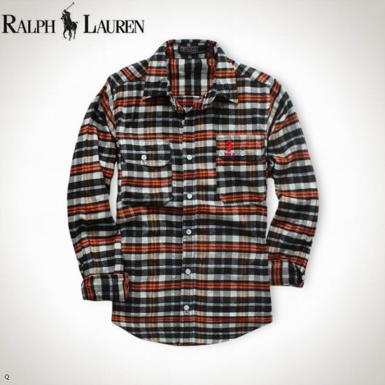 Ralph lauren plaid long sleeved polo shirt for men on polo shop