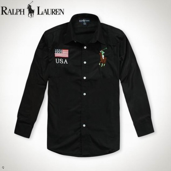 Ralph lauren long sleeve mens shirts with usa flag in black