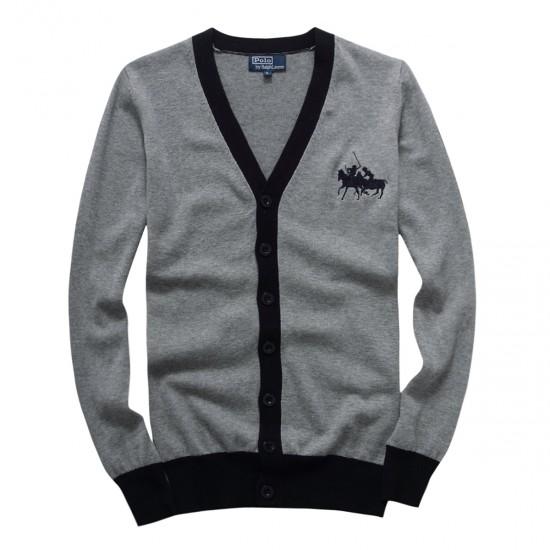 Various sizes ralph lauren mens button v-neck sweater gray