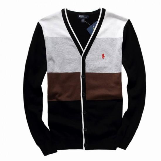 ralph lauren men v-neck sweater black brown