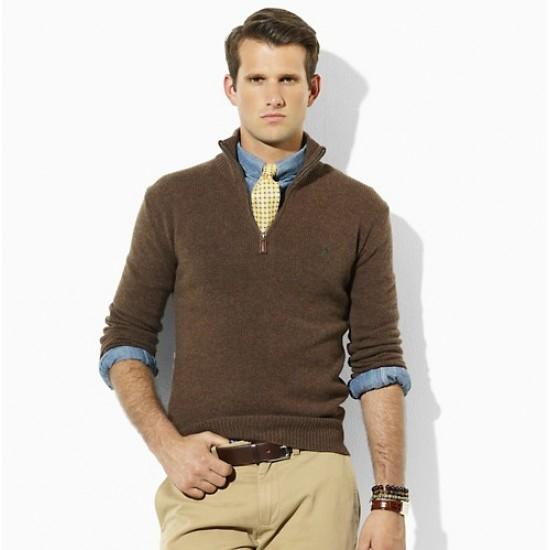 Amazing price ralph lauren men coffee half zipper sweater