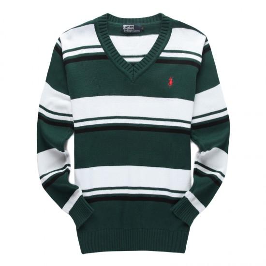 Authentic store ralph lauren men v-neck sweater green white