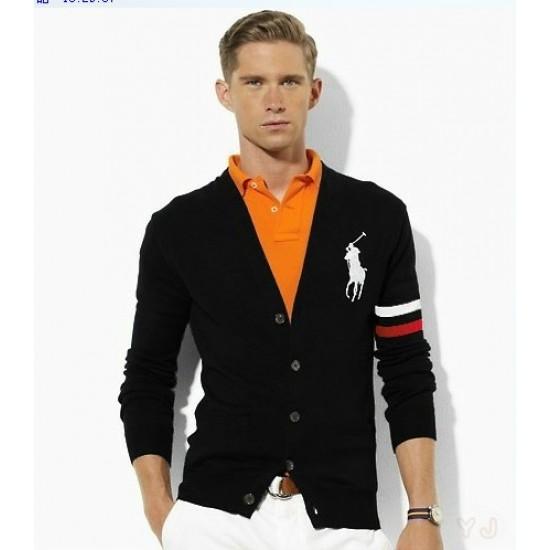 Low prices ralph lauren men button check v-neck sweater black