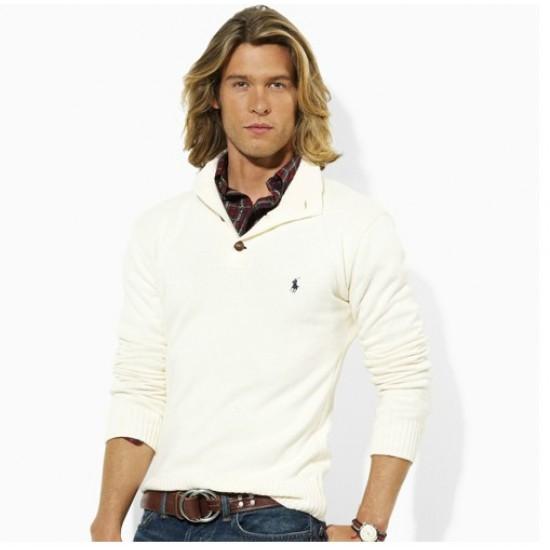 Buy original ralph lauren men half zipper sweater white