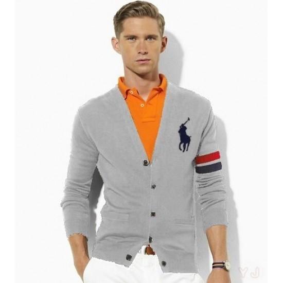 Big sale ralph lauren men button check v-neck sweater gray