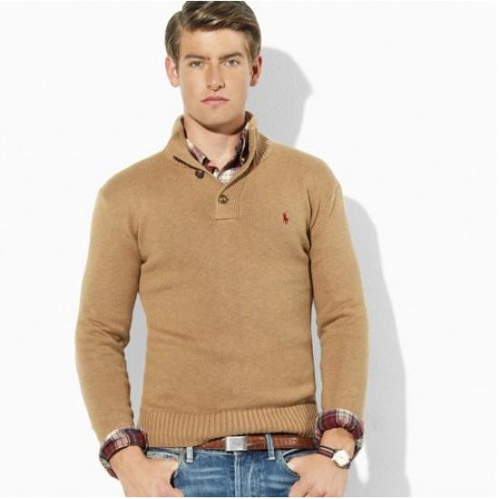 To buy popular ralph lauren men with button khaki sweater