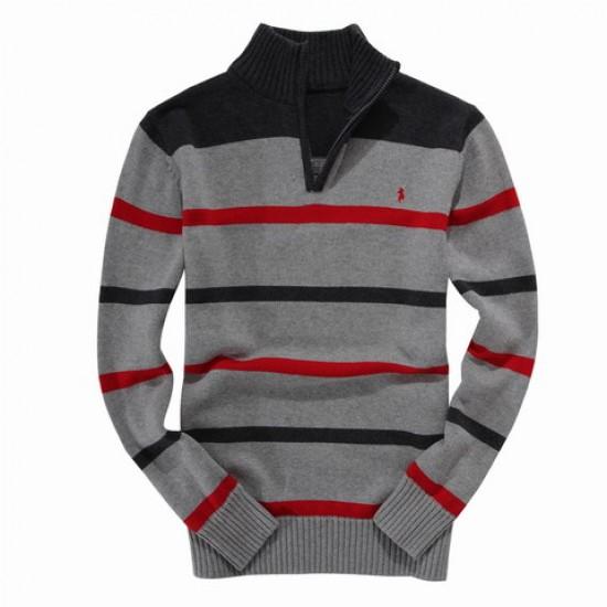 ralph lauren men half zipper red black striped sweater gray