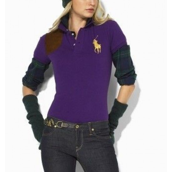 Women's Polo Ralph Lauren Big Pony Leather Patch Polo Shirt Purple